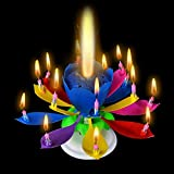 Sinfore 1pcs Amazing Two Layers with 14 Small Candles Lotus Happy Birthday Spin Singing Romantic Musical Flower Party Light Intelligent Decorative Cake Candles (Colorful)