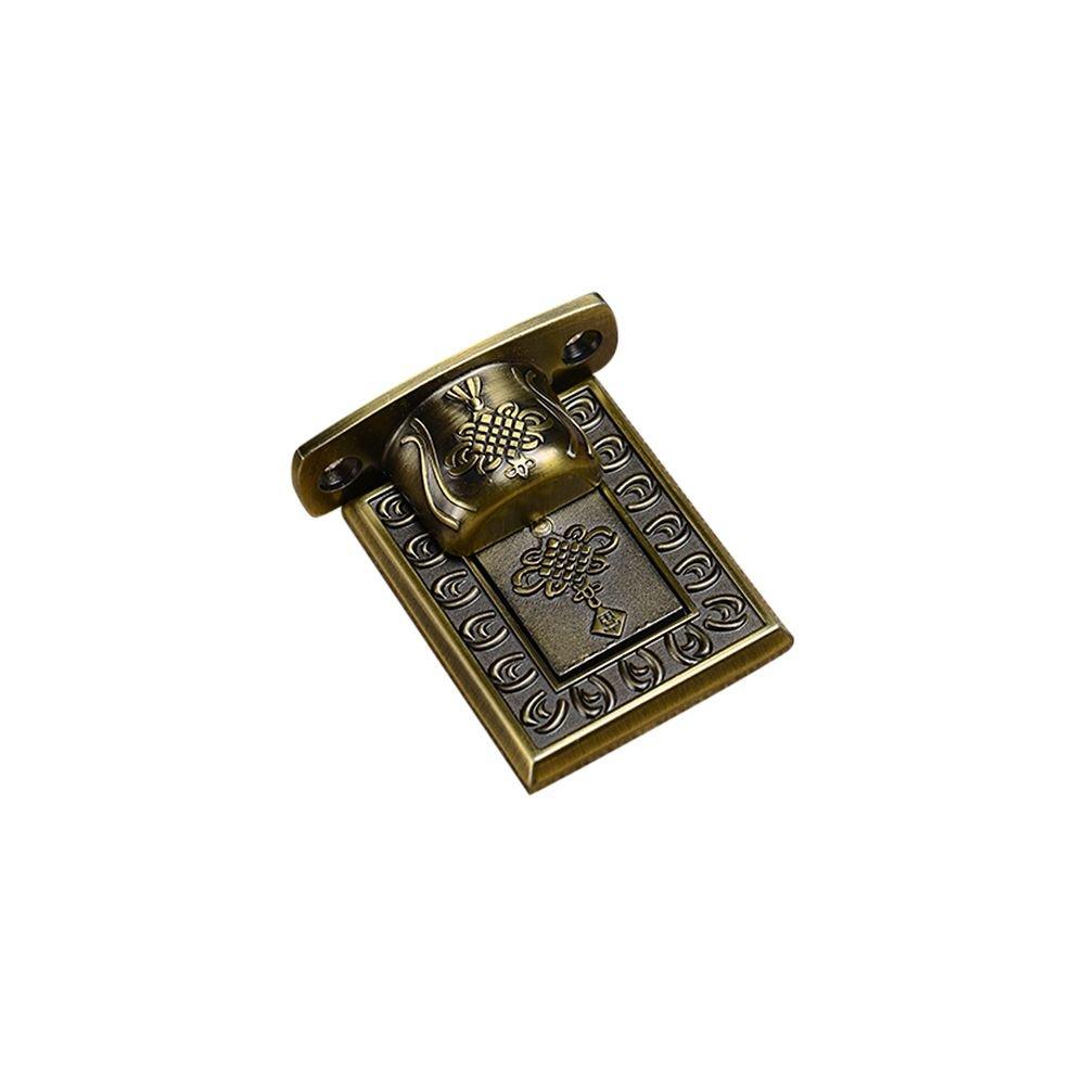 Zhi Jin 1Pc Retro Carved Magnetic Door Stopper Heavy Duty Doorstop Holder Catch Decorative Bronze