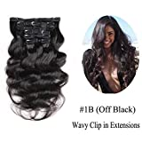 Urbeauty Body Wave Remy Clip in Hair Extensions #1B Natural Black 7Pcs/100g 18 inches Full Head Clip in Wavy Human Hair Extensions Triple Weft