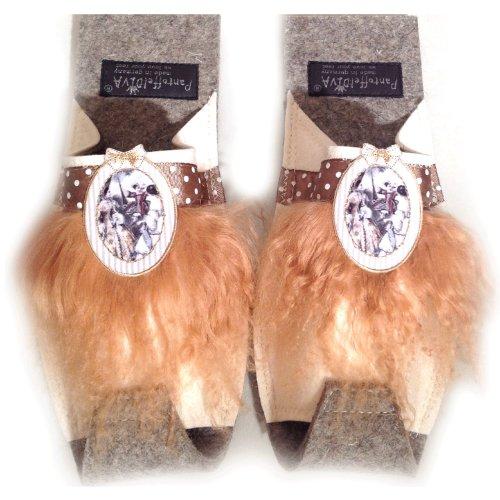 PantoffelDIVA , Chaussons pour femme Blanc weiß camel Unisex Größe 38-42