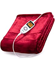 """Sable Heated Blanket Electric Throw, 50"""" x 60"""" Full Body Warming Twin, Double-Layer Flannel Fast 10 Levels, Over-Heat Protect, Machine Washable, Red"""