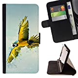 DEVIL CASE - FOR Sony Xperia m55w Z3 Compact Mini - Yellow Parrot Art - Style PU Leather Case Wallet Flip Stand Flap Closure Cover