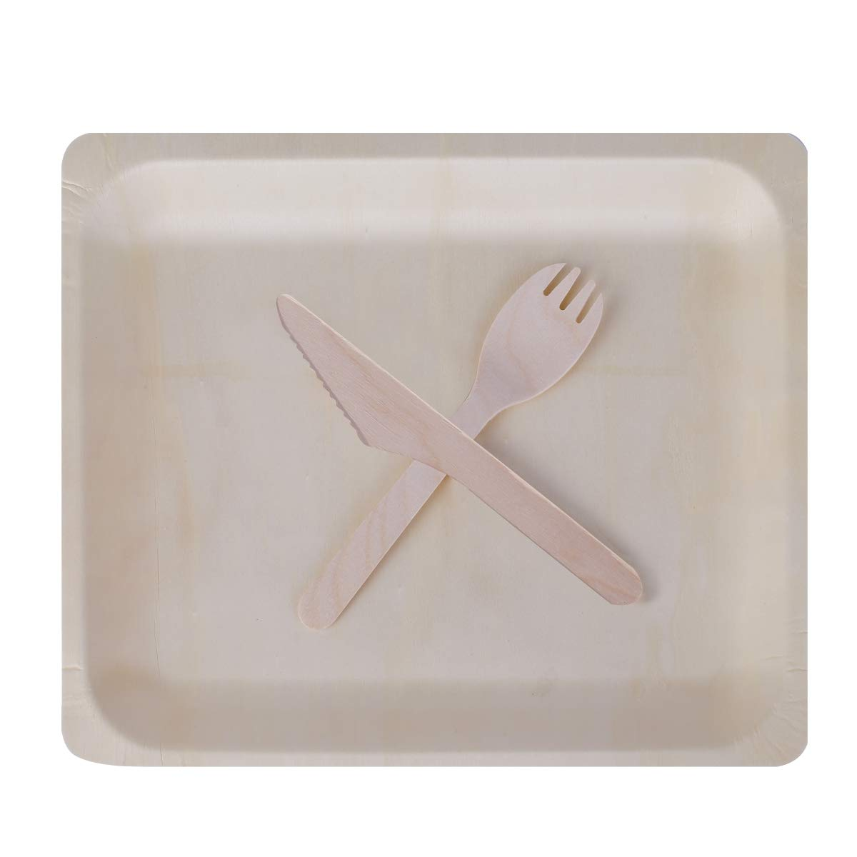 Gmark 10.5''x8.5'' Wooden Plates with Wooden Cutlery Set (25 Sets) for Party Events GM1098 by Gmark (Image #1)