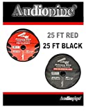 25' Red + 25' Black 10 Ga Gauge Ground Power Audio Wire Cable Amplifier Battery