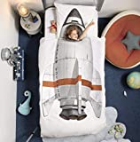 SNURK Twin Duvet Cover and Pillowcase Set for Kids 100% Cotton Soft Cover for Your Little One - Rocket Ship Twin Duvet Cover and Pillowcase (Twin)