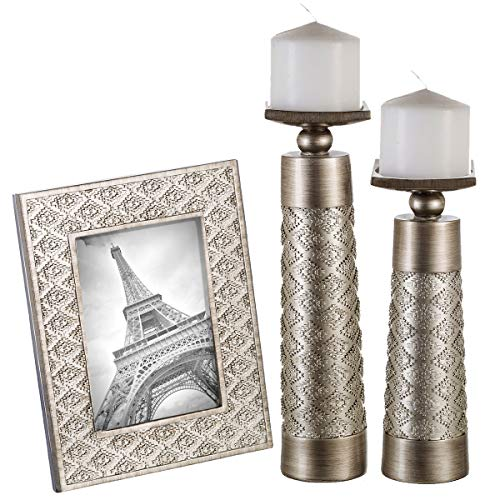Dublin Set of 2 Candle Holders and matching 5 X 7 Picture Frame - Home Decor Centerpiece for Fireplace, Desktop, Living or Dining Room Table, Coffee Table Mantle Decor (Brushed Silver)