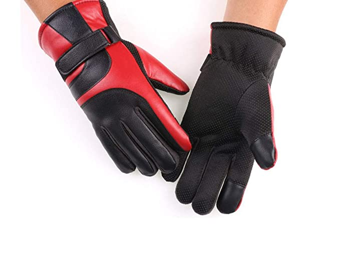 Gents Soft Leather Winter Gloves with Warm Fleece Lining Tactical Style Mens