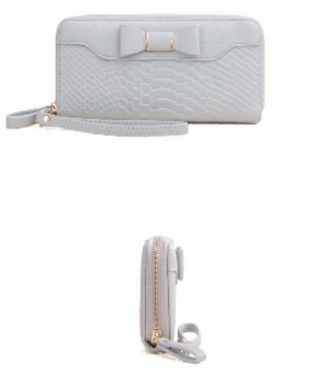 SELECTIA Women's Wallet PU Leather Mother's Day Gift Present Gift Beautiful Adorable Gorgeous Gift Large Capaciity Long Purse Credit Cash Holder Clutch Handbag with Strap Iconic Bow 29 (White) by SELECTIA (Image #3)