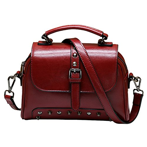 De En Fourre Sacs tout Main Femmes Mode Red Bag Vachette Rétro Nouveau Bandoulière Dames à Cuir Messenger Sac à Sacs aOEqaYxI
