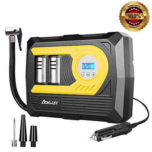 Tire Inflator, Tire Pumps for Automobiles-Portable Air Compressor 12V DC 100 PSI - Auto Shutoff- Digital Display