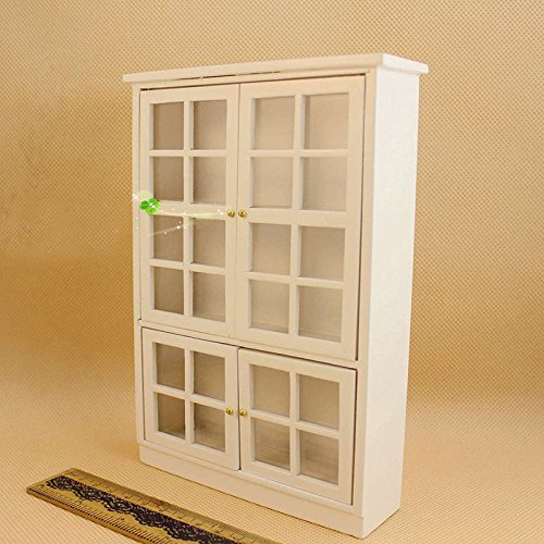 1:12 Dollhouse Miniature Furniture Kitchen Cabinet Cupboard Display Shelf Wood - Pepper White Dresser