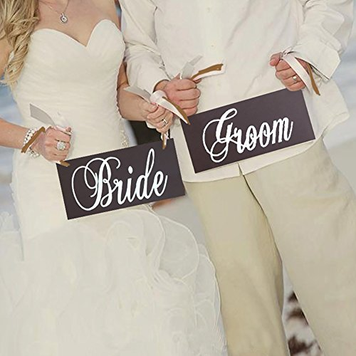 Wooden Bride and Groom Wedding Chair Decoration Sign , Wedding Photo Props, Brown, 25 x 13 (Rehearsal Dinner Table Decorations)