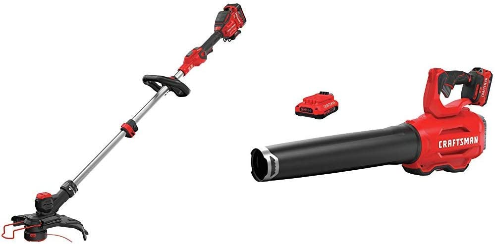 CRAFTSMAN CMCST910M1 V20 MAX String Trimmer with CMCBL720D2 V20 Handheld Blower