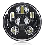 "Black 5-3/4"" Motorcycle Projector LED Headlight for Harley Dyna Wide Glide FXDWG Headlamp Driving Light"