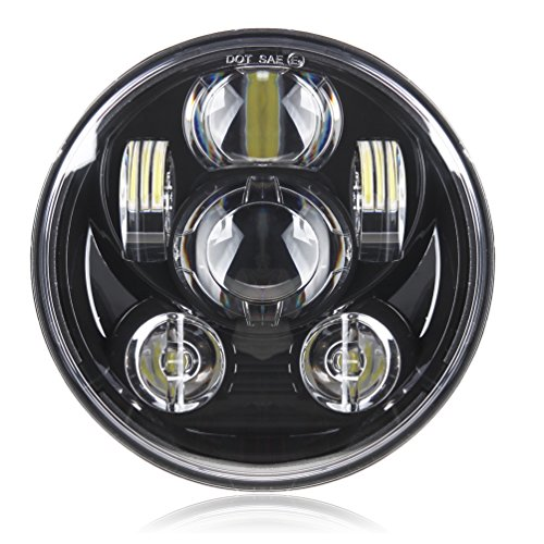 Motorcycle 5-3/4 5.75 LED Headlight for Harley Davidson 883,sportster,triple,low rider,wide glide Headlamp Projector Driving Light ()