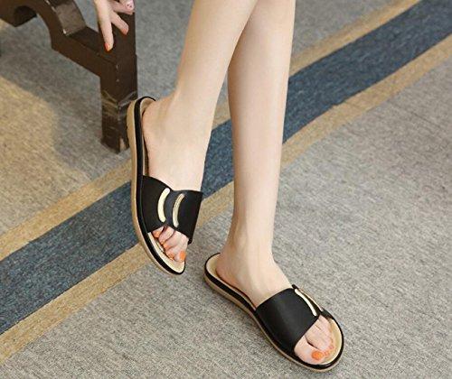 talon plat plage Mesdames sandales chaussures pantoufles et d'été femmes d'extérieur sandales Black maison de filles tfwFIq