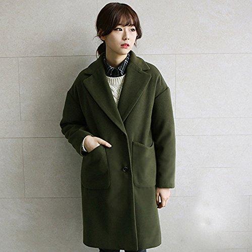 Army vert petit Xuanku dans La Longue Section De La Laine Tweed épais Manteau en Laine Manteau Robe