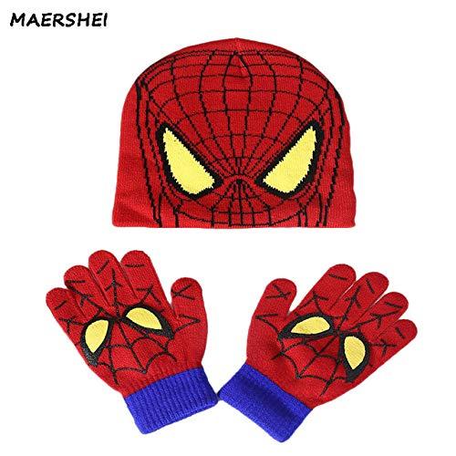 22435c9f1ad World 2 home MAERSHEI Autumn and Winter Children s Knit hat Boys and Girls  Spiderman Cartoon Warm caps Gloves Kids hat Gloves + hat Baby Cap   Amazon.in  ...
