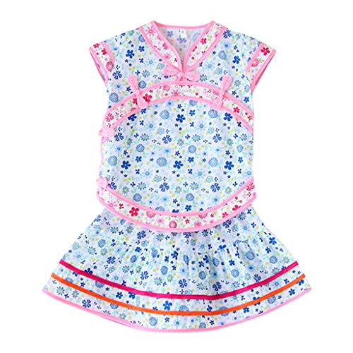 Kintaz Infant Toddler Baby Girl Floral Print Cheongsam Princess Dress Outfit Set (1-2 Years, Blue)