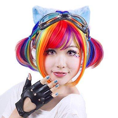 Peluca de mujer sintética corta recta arcoíris negro/rosa rojo bobinado pelo cosplay peluca fiesta
