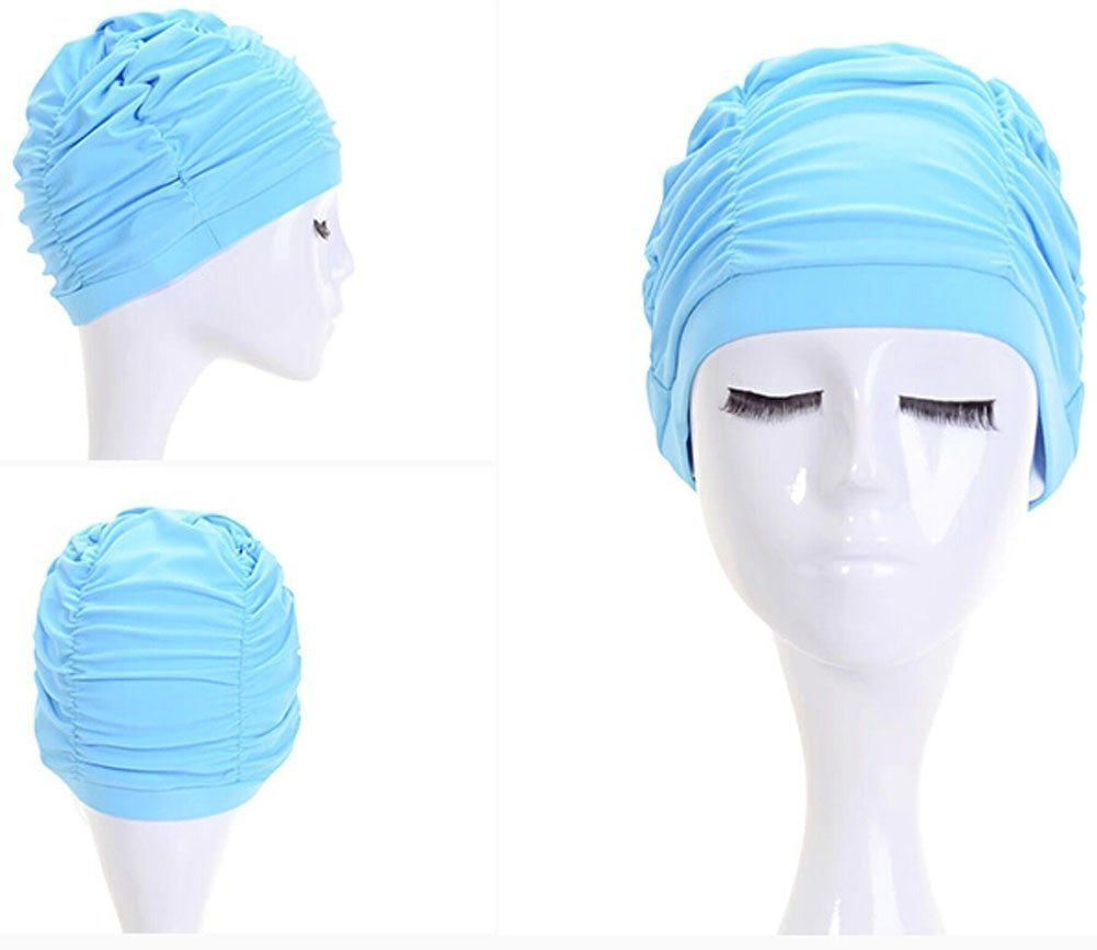 Kangkang@ New Woman Super Earmuffs Comfortable Fashion Womens Large Swimming Cap Creative High Quality Polyester Women Swim Long Hair Lady Cap