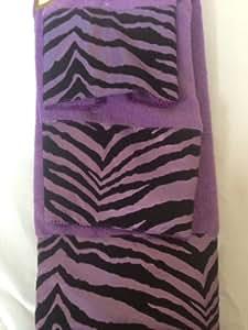 Amazon.com: 3 Piece Bath Towel Set- Black Purple Zebra ...