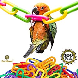 Plastic Chain Links (100 pc) - Lightweight & Durable DIY Pet Toy for Parrots, Rats & Sugar Gliders - Variety Pack of 6 Vibrant Colors - Interchangeable C-Clip Hooks Great for Classroom or Playroom