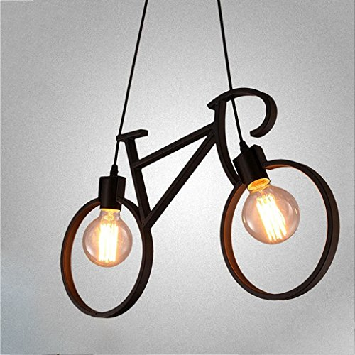 Chandelier Iron Craft Bike Pendant Lamp Restaurant Ceiling Lamp E27 Industrial Style Decorative Lighting Height Adjustable ( Color : Black ) by Baoduohui