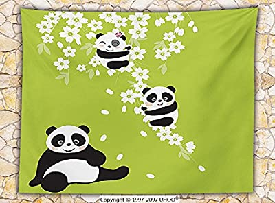Animal Decor Fleece Throw Blanket Baby Panda Bears in a Cherry Bloom Tree Branches with Mom Under the Tree Cartoon Throw Green Black White