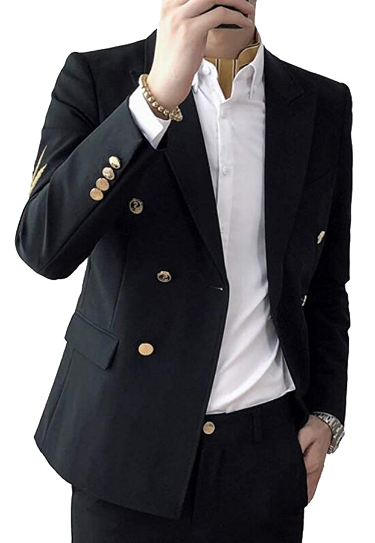 ainr Mens Double Breasted Pinstripe 2 Piece Suit Slim Fit Blazer Jacket /& Trousers