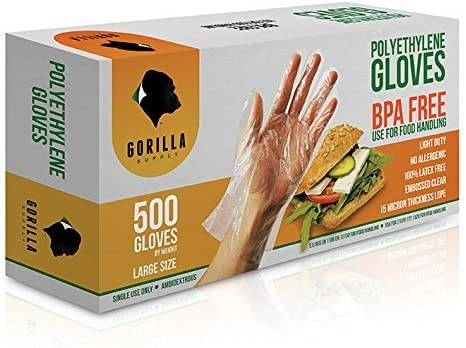 B00R6Q0RNG 500 BPA Free Disposable Poly PE Gloves Large, Food Grade 512SKGf0OrL