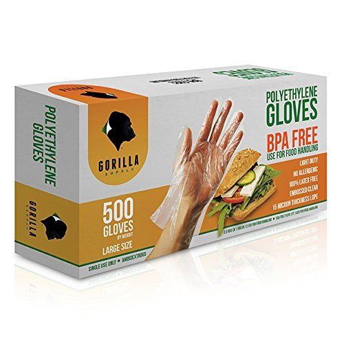 500 BPA Free Disposable Poly PE Gloves Large, Food Grade ()