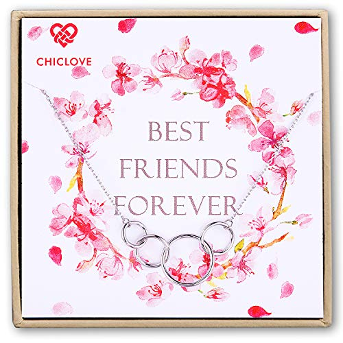 CHICLOVE 4 Sisters Gift 4 Best Friends Necklace - 925 Sterling Silver Friendship Infinity Interlocking Circles 4 Best Friends