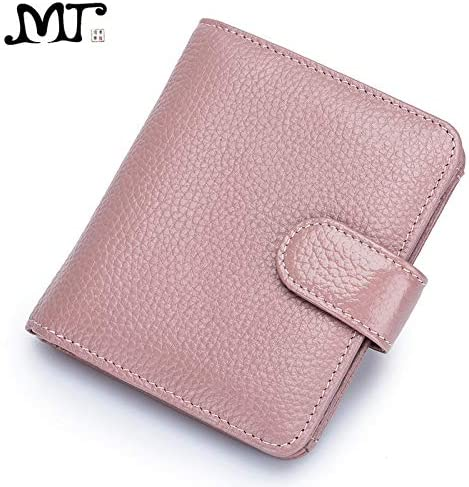 Xennos Wallets MJ Women Wallet Genuine Leather Female Purse Bi-Fold Card Holder Hasp Wallet Real Leather Short Purse ID Window Photo Position Color: Burgundy