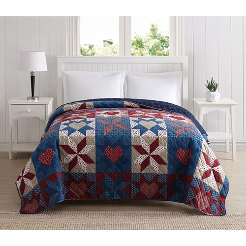 Ashley Cooper Day by Day Hearts and Stars Quilt in Twin or Queen Size (Twin)