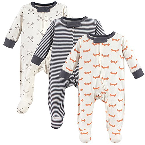 (Touched by Nature Unisex Baby Organic Cotton Sleep and Play, Fox 3-Pack, 6-9 Months (9M))