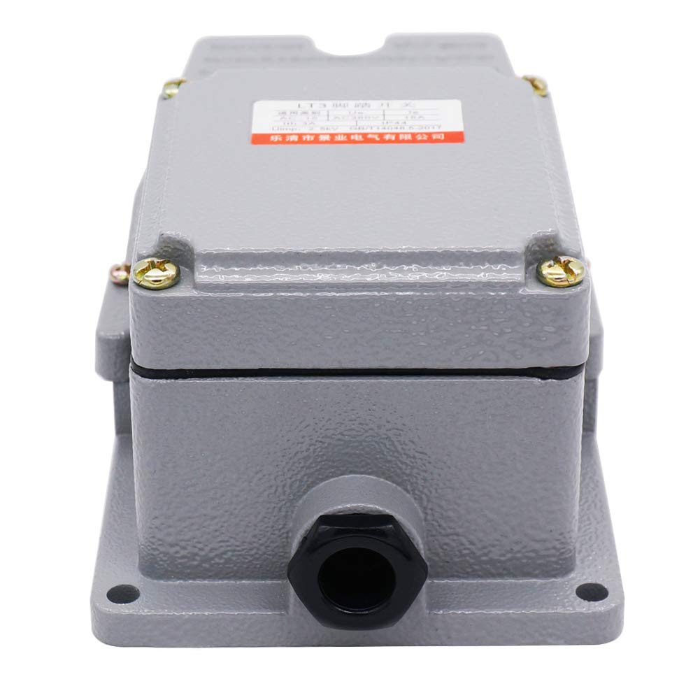 Twidec//AC 380V 15A Heavy Duty Foot Pedal Switch SPDT NO NC Electric Pedal Momentary Foot Pedal Switch LT-3