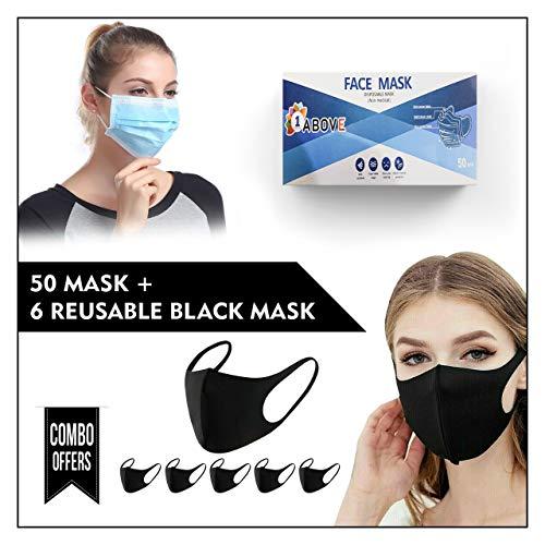 1 Above_50 Pcs Disposable Face Masks & 6 Pcs Reusable Face Mask   For Adults…