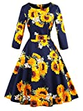 FAIRY COUPLE 50s Vintage Retro Long Sleeves Floral Cocktail Party Dress with Bow DRT056(4XL,Navy Blue Flower)