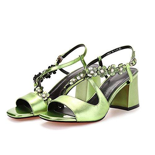 Moda Mujer verano sandalias confortables,37 tacones altos tacones altos violeta 12CM Green