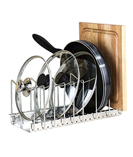 Fecihor Stainless Steel Pan and Pot Lid Cookware Rack Holder - Adjustable Bakeware Cookware Kitchen Cabinet Pantry Drying Rack and Countertop Cookware Organizer Holders, Silver (Pan Rack Lid)