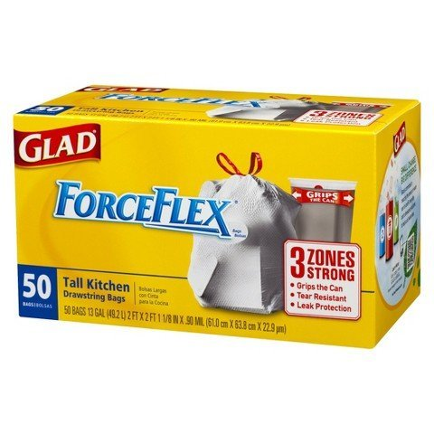 - Glad Forceflex Tall Kitchen Drawstring Trash Bags 13 Gal 50 Ct