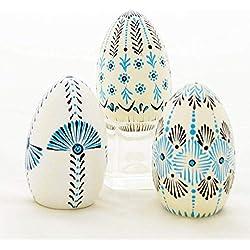 Huevo de madera pintado y decorado a mano. Hecho en México. Artesanía Mexicana.