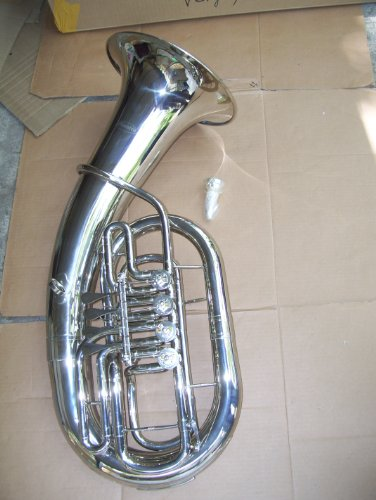 Euphonium with hard case and mouthpiece, 4 rotary valve, silver by Maestro