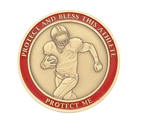 R FOOTBALL Medal Saint Sebastian Brass SEBANO Sports Good Luck Coin 1.7