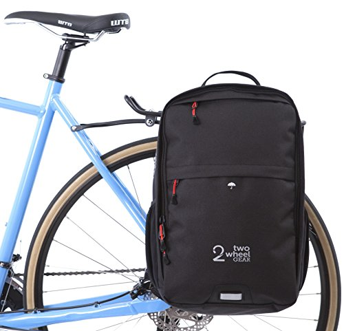 Two Wheel Gear - Pannier Backpack Convertible (2018) - 2 in 1 Commuting and Travel Bike Bag (Black)