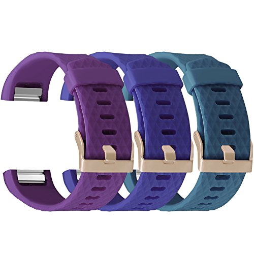 For Fitbit Charge 2 Bands Accessories, UMAXGET Sport Silicone Replacement Wristband with Rose Gold Buckle for Women Men Pack 3 Plum&Navy blue&Gray green - Navy Gold Rose Blue