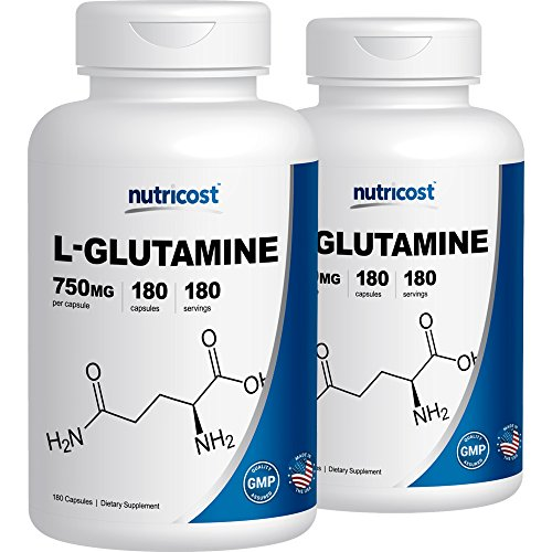 Nutricost L-Glutamine 750mg; 180 Capsules (2 Bottles)