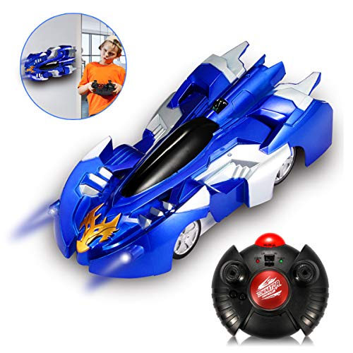 LCF Remote Control Car Gravity Defying RC Car,Race Car Toys for Floor or Wall / USB for Rechargeable Fast RC Car 360°Rotating Stunt Wall Climbing Car for Boy Girl Kids Ideal for Birthday Gift (Blue)