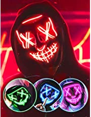 AnanBros Scary LED Halloween Mask, Masquerade Cosplay Light Up Face Mask for Men Women Kids